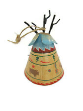 VTG Christmas Ornament Teepee Desert Southwest Collectible Painted Metal