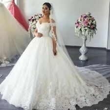 Off Shoulder Princess Wedding Dress Ball Gown 2020 Lace Applique Beads Custom