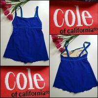 Cole of California Womens Swimwear One Piece Swimsuit Swim Dress Blue Size 14