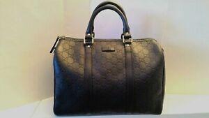Gucci Guccissima NEW Leather Boston Bag Dark Blue 265697