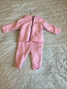 Baby Girls Pink Nike Top&bottom Track Suit Set-3/6 Months