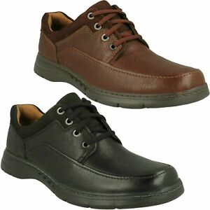 MENS UNSTRUCTURED CLARKS LEATHER CASUAL AIR CIRCULATION UN BRAWLEY LACE UP SHOES