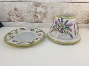 Yankee Candle Lavender Spring Large Shade & Tray Set RARE