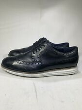 COLE HAAN Lunar Grand Wing Tip Oxford Black Leather White Sole Size US 11.5 Mens