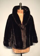 Vintage Faux fur cape capelette dark brown med
