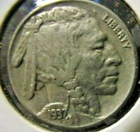 1937 Buffalo Nickel - Extremely Fine detail