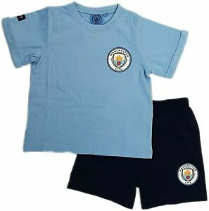 Kids Manchester City Boys Shorts Pyjamas Official Football PJ Set Man City MCFC