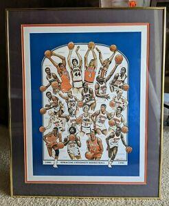 Vintage SYRACUSE Basketball Framed Art Print 1980s Derrick Coleman Rony Seikaly