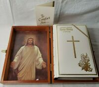 Vintage Memorial Edition Holy Bible in Wooden Box Case, 1976, white leather