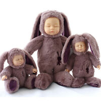 Baby doll kids toy gift sleeping bear rabbit girl boy soft birthday 28cm Pink