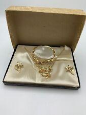 Vintage Jewelry S&G Fifth Ave Demi-Parure Bracelet Necklace Earrings Box Set