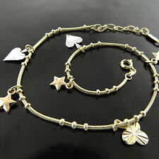 FSA611 GENUINE REAL 18K YELLOW G/F GOLD HEART STAR 3 LEAF CLOVER BRACELET ANKLET