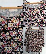 Rainbows + Cupcakes Knit Top Floral Large Stretch Lace Applique Detail NWOT