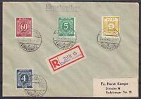 SBZ Mi Nr. 47 G mit All. Besetz. 914, 915, 933 MiF Kempe R- Brief Dresden 1946