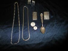 MENS VINTAGE STERLING SILVER ZIPPO LIGHTERS, ITALY NECKLACES , ANSON CUFFLINKS