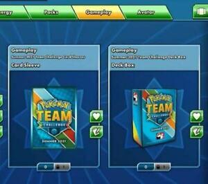 Summer 2021 Team Challenge Deck Box and Card Sleeves Pokemon Online Unused code