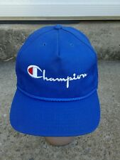VINTAGE RETRO AUTHENTIC CHAMPION SPELLOUT SNAPBACK HAT CAP BLUE MADE IN USA VGC