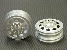 GPM - Tamiya 1/14 Truck Aluminum Front Wheel (9 Holes) - 1Pr Silver
