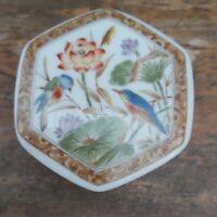 Vintage Porcelain Hexagonal Trinket Box / Pill Box. Flowers & Birds. Japanese