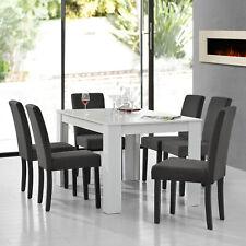 [En.casa] Mesa de Comedor Blanco Con 6 Sillas Gris Textil 140x90 Juego