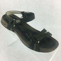 TEVA Venture Women's 8 Black Nubuck Leather Adj Ankle T Strap Cork Sandals 6510