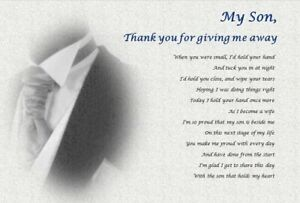 SON  - Thank you for GIVING ME AWAY GIFT- personalised wedding poem