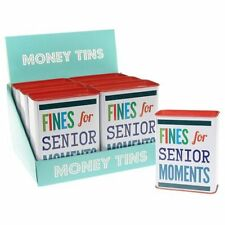Fines for Senior Moments Money Tin - Fun Coins Storage - Savings Box Gift