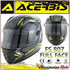 CASO INTEGRALE ACERBIS FS-807 MOTO SCOOTER FULL FACE NERO GIALLO TAGLIA M