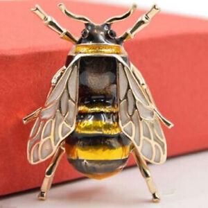 Vintage Style Elegant Bee insect Flower Brooch Pin Wedding Rhinestone Crystal UK