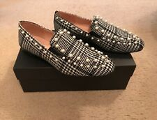 J.CREW PEARL-STUDDED LOAFERS IN GLEN PLAID SIZE 6,5M BLACK IVORY K3097