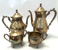 Antique Vintage MR Silver Plated EPNS Four Piece Tea & Coffee Set #357