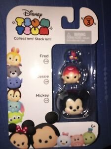 NEW ~Disney TSUM TSUM- Series 3-Fred, Jessie & Mickey- 3 Pack-Ready To Ship