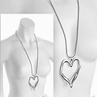 Lagenlook silver colour large heart pendant 75 cm long chain necklace jewellery
