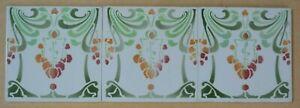 BELGIUM ANTIQUE ART NOUVEAU MAJOLICA 3-SET TILE C1900