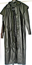 UNIK Mens Long Black Leather Western Cowboy Duster Full Length Trench Coat Sz XS