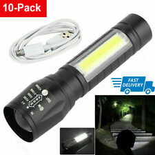 10Pcs Zoomable 15000LM T6+COB LED Flashlight Tactical Torch USB Rechargeable