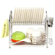 2Tier Dish Drying Rack Dish Drainer Kitchen Storage Organization Stainless Steel