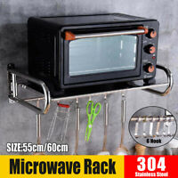 Wall Mounted Microwave Oven Rack Shelf Bracket Stand Stainless Steel + 6 Hooks