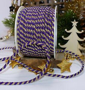 5m Kordel Schleifenband (0,36 €/m) gold lila 4mm Dekokordel Weihnachten
