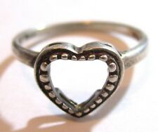 Estate Single Heart Fine Outline Design Sterling Slver Size 6.25 Ring*925*D182