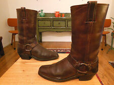 Vtg FRYE Women's Dk. Brown Leather Harness, Biker, Urban Hipster Boots 10M USA