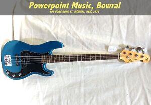 SX VEP62 Vintage Style Bass Guitar - Lake Placid Blue + Gig Bag