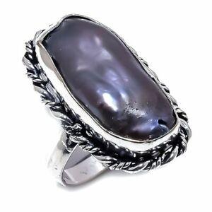 Biwa Pearl Gemstone Handmade Ethnic 925 Sterling Silver Ring Size 6.5