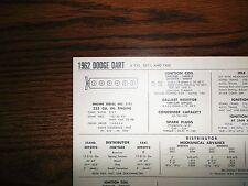 1962 Dodge Dart SIX Series SD1-L & Taxi Models 225 CI L6 Tune Up Chart