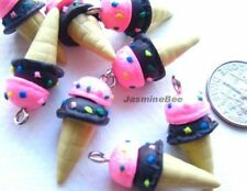 Ice Cream Cones Polymer Fimo Clay Pendants Charms Beads 22mm*6pcs