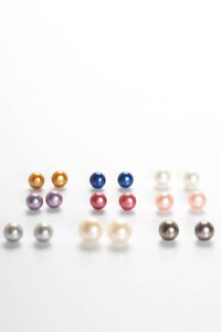 Honora Sterling SIlver Tone Pearl Stud Earrings White Pink Gray Blue Gold Lot 9