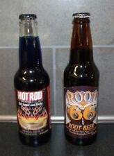 (2) VINTAGE CARBONATED DRINK BOTTLES // ROOT 66 ROOT BEER & HOT ROD MAG // FULL