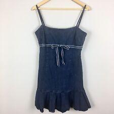 Juicy Couture Denim Dress Size Medium M Spaghetti Straps Ruffle Jeans Sundress