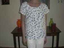 Womens Thakoon for Target 100% Cotton White with Blue Pleated Blouse Back Zip M
