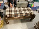 Retro Vintage MCM Coffee / Bed Table Bench Cushioned Solid Oak Great Shape 24x48